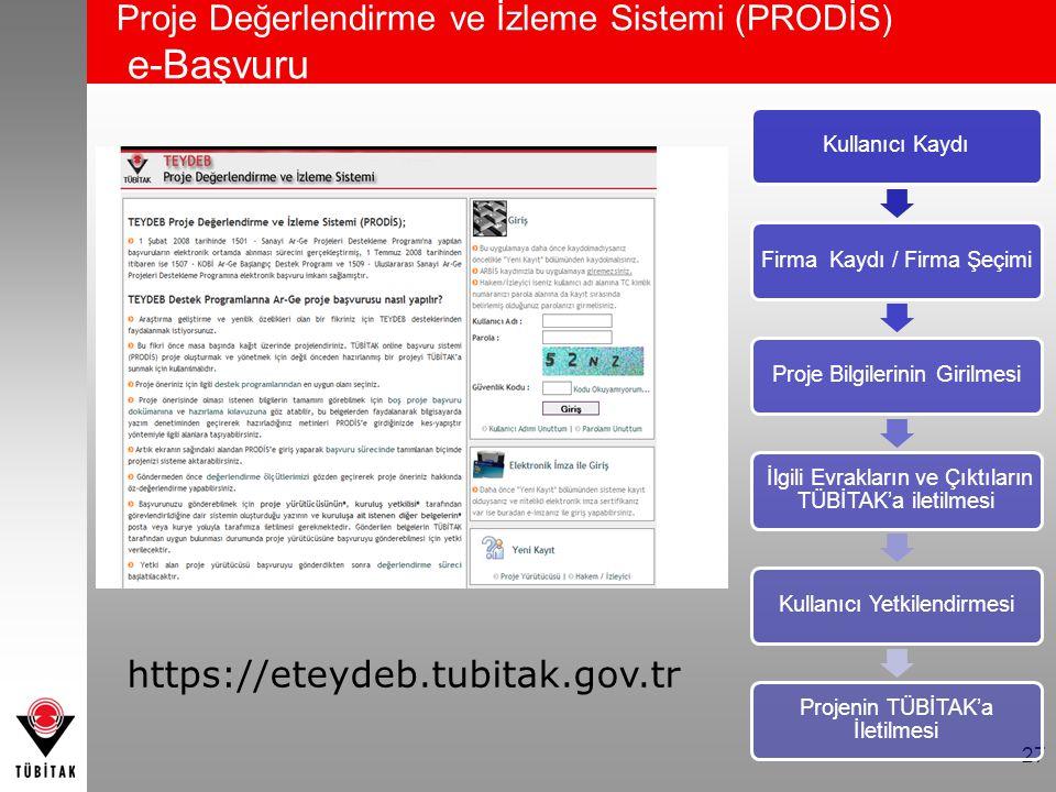 Proje Değerlendirme ve İzleme Sistemi (PRODİS) e-Başvuru 27 Kullanıcı KaydıFirma Kaydı / Firma ŞeçimiProje Bilgilerinin Girilmesi İlgili Evrakların ve