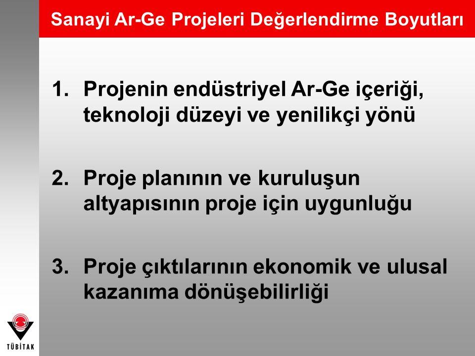 Sanayi Ar-Ge Projeleri Değerlendirme Boyutları 1.Projenin endüstriyel Ar-Ge içeriği, teknoloji düzeyi ve yenilikçi yönü 2.Proje planının ve kuruluşun