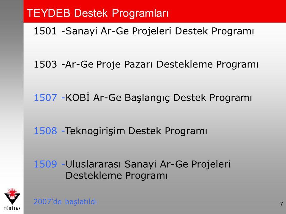 7 1501 -Sanayi Ar-Ge Projeleri Destek Programı 1503 -Ar-Ge Proje Pazarı Destekleme Programı 1507 -KOBİ Ar-Ge Başlangıç Destek Programı 1508 -Teknogiri