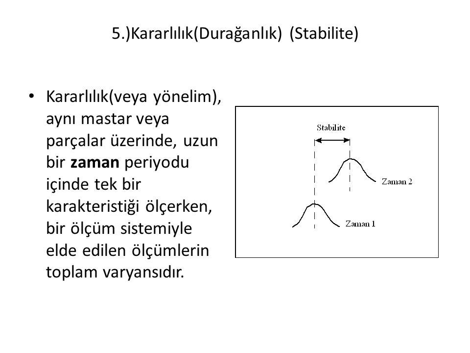 5.)Kararlılık(Durağanlık) (Stabilite) Kararlılık(veya yönelim), aynı mastar veya parçalar üzerinde, uzun bir zaman periyodu içinde tek bir karakterist