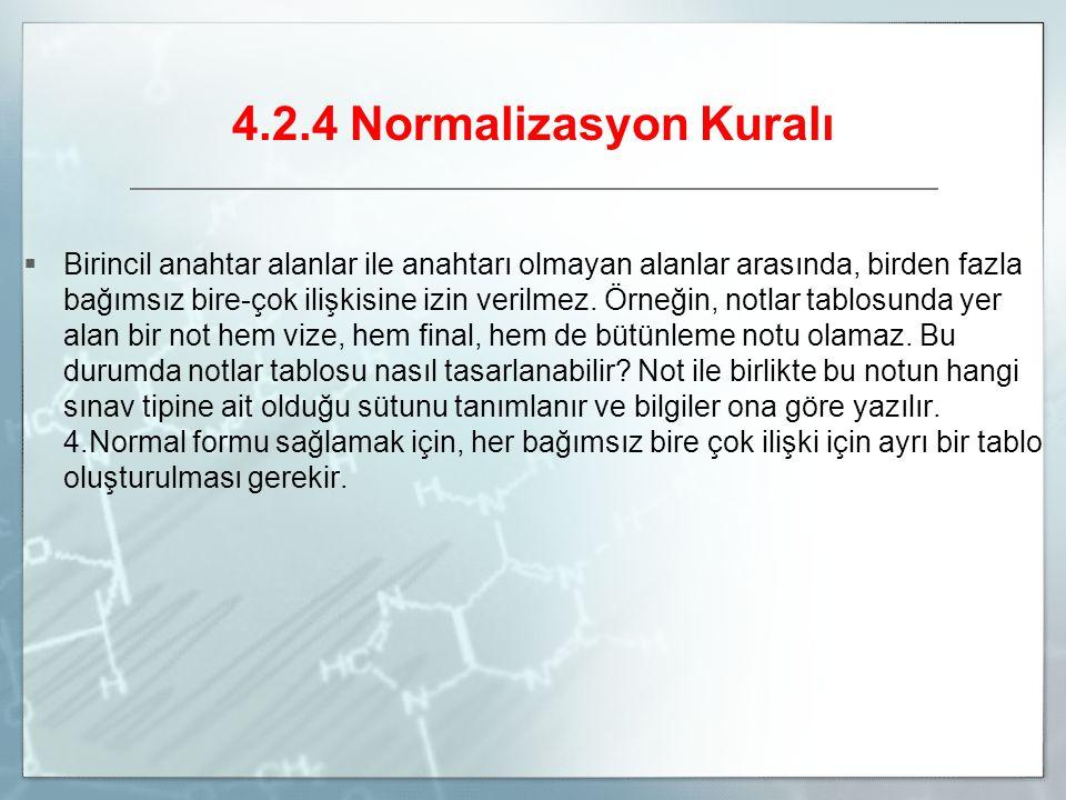 4.2.4 Normalizasyon Kuralı  Birincil anahtar alanlar ile anahtarı olmayan alanlar arasında, birden fazla bağımsız bire-çok ilişkisine izin verilmez.