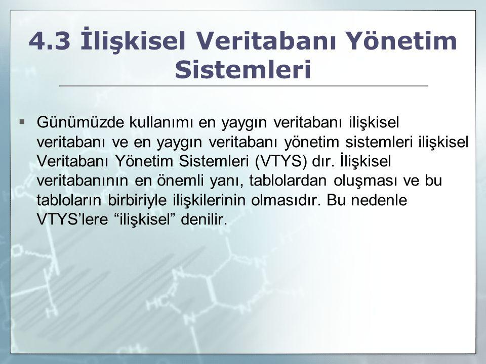 4.3 İlişkisel Veritabanı Yönetim Sistemleri  Günümüzde kullanımı en yaygın veritabanı ilişkisel veritabanı ve en yaygın veritabanı yönetim sistemleri