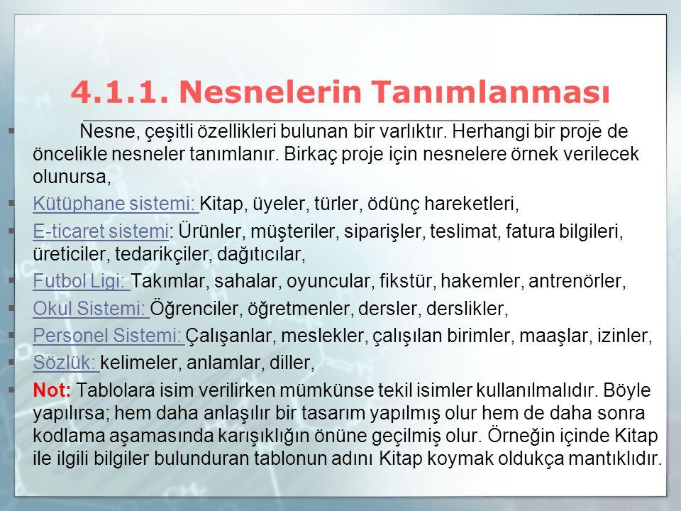 4.1.1. Nesnelerin Tanımlanması  Nesne, çeşitli özellikleri bulunan bir varlıktır. Herhangi bir proje de öncelikle nesneler tanımlanır. Birkaç proje i