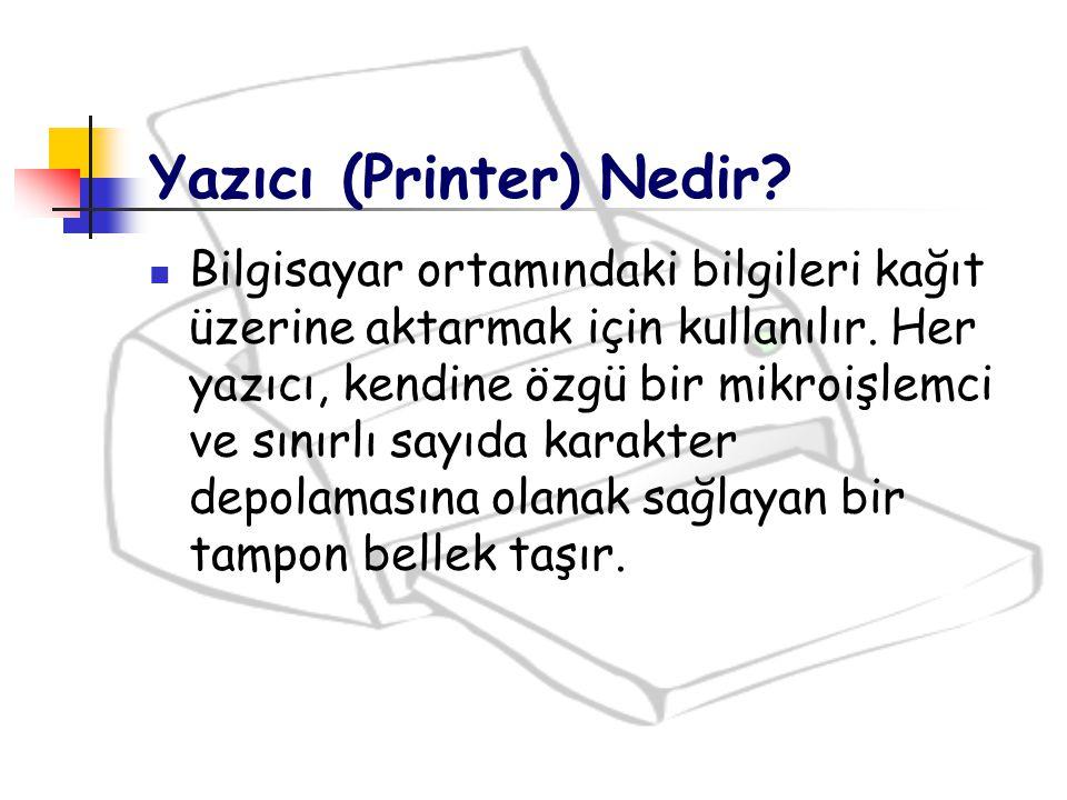 Yazıcı (Printer) Nedir? Bilgisayar ortamındaki bilgileri kağıt üzerine aktarmak için kullanılır. Her yazıcı, kendine özgü bir mikroişlemci ve sınırlı