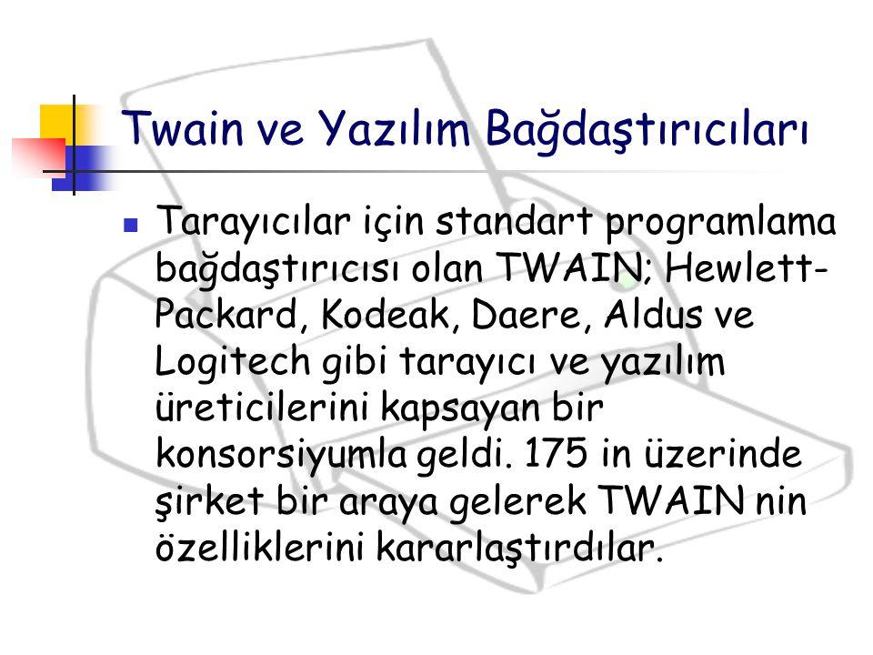 Twain ve Yazılım Bağdaştırıcıları Tarayıcılar için standart programlama bağdaştırıcısı olan TWAIN; Hewlett- Packard, Kodeak, Daere, Aldus ve Logitech