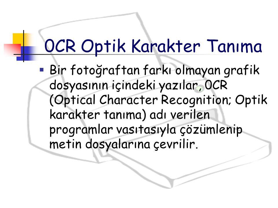  Bir fotoğraftan farkı olmayan grafik dosyasının içindeki yazılar, 0CR (Optical Character Recognition; Optik karakter tanıma) adı verilen programlar