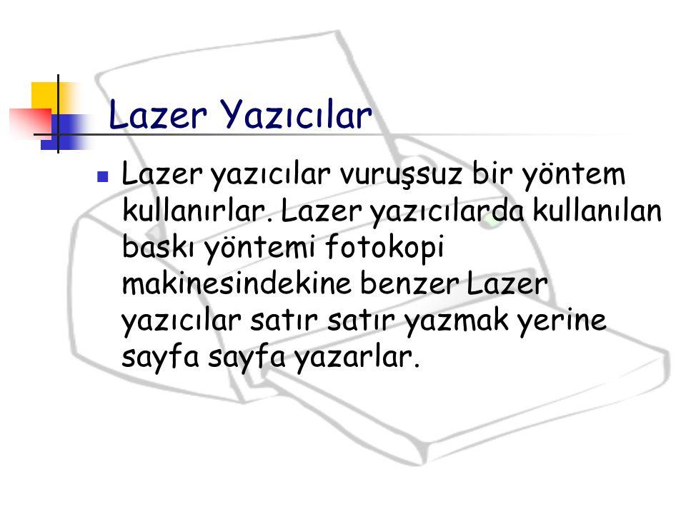 Lazer yazıcılar vuruşsuz bir yöntem kullanırlar. Lazer yazıcılarda kullanılan baskı yöntemi fotokopi makinesindekine benzer Lazer yazıcılar satır satı