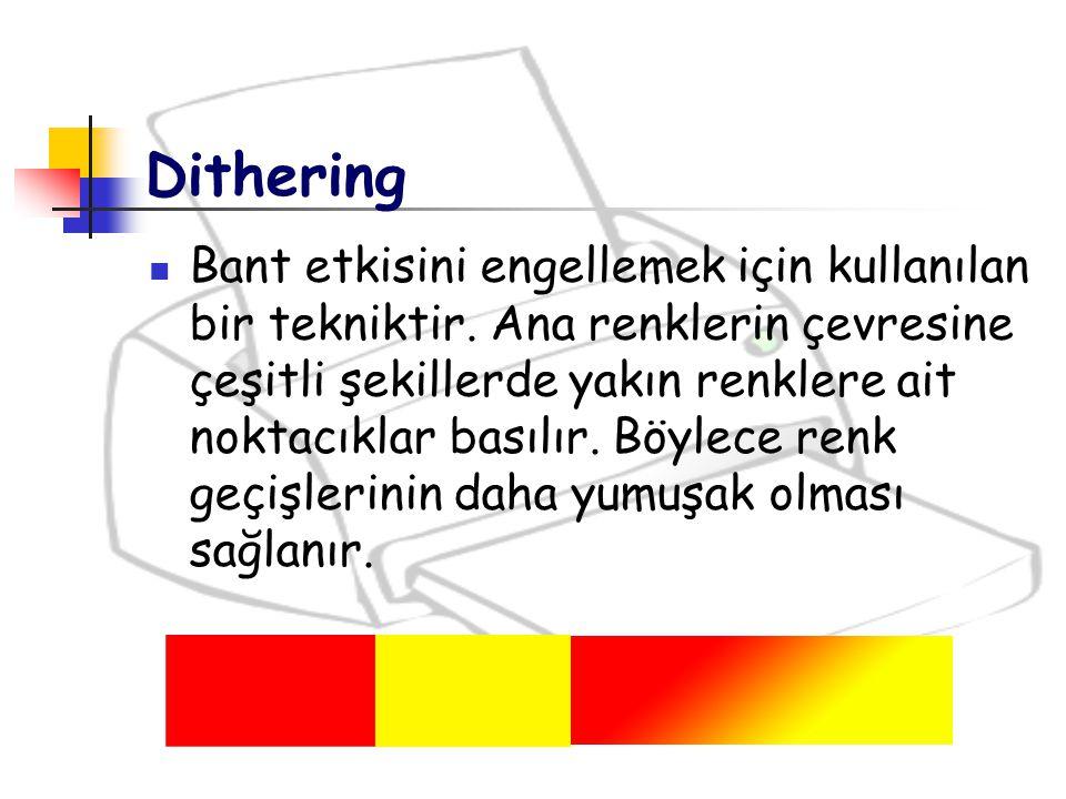 Dithering Bant etkisini engellemek için kullanılan bir tekniktir. Ana renklerin çevresine çeşitli şekillerde yakın renklere ait noktacıklar basılır. B