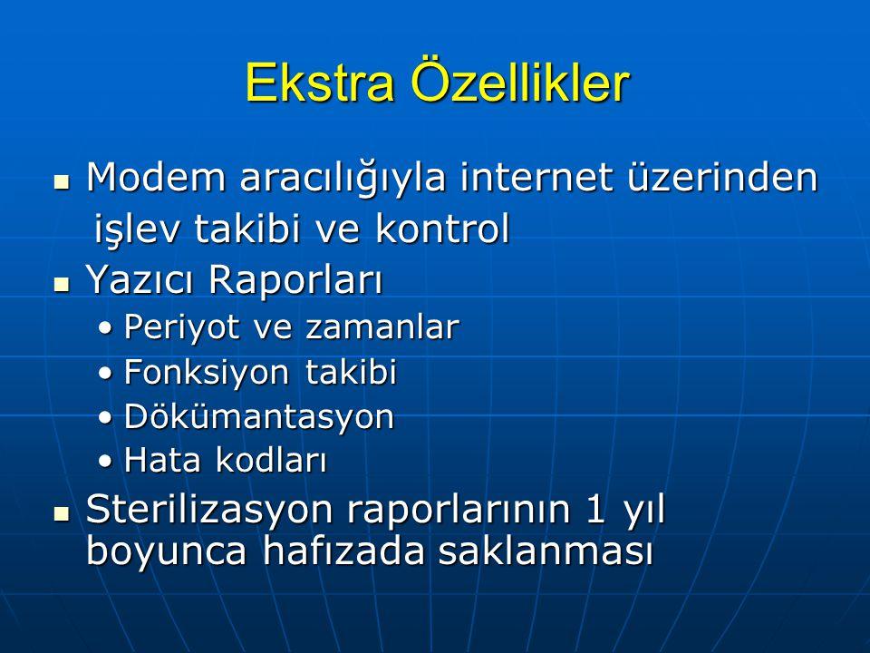 Ekstra Özellikler Modem aracılığıyla internet üzerinden Modem aracılığıyla internet üzerinden işlev takibi ve kontrol işlev takibi ve kontrol Yazıcı R