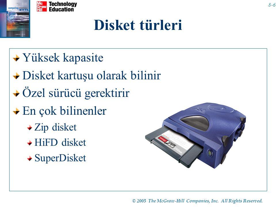© 2005 The McGraw-Hill Companies, Inc. All Rights Reserved. 8-6 Disket türleri Yüksek kapasite Disket kartuşu olarak bilinir Özel sürücü gerektirir En