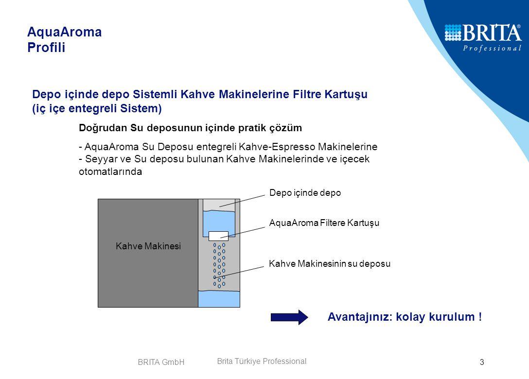 BRITA GmbH4 Aktif Karbon - Teknolojisi Aktif Karbon Teknolojisi ile Tat ve Koku bozucu partiküller süzülür AquaAroma Avantajları Tasdikleşmiş Brita - Teknolojisi Brita Filtrasyon Teknolojisi suyun içinde bulunan ve görünümünü ile tadını değiştiren Klor ve diğer Partiküllerini süzer ve Kahve Aromasını artırır.