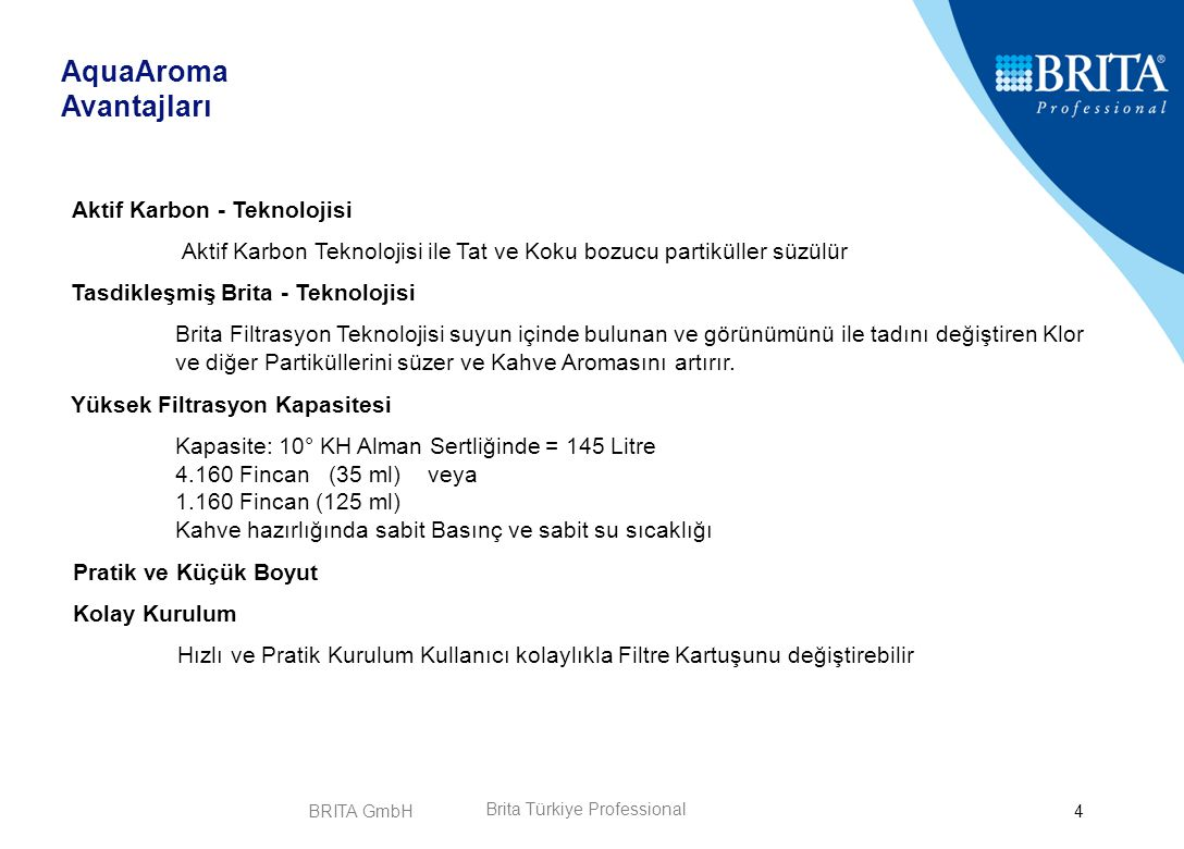 BRITA GmbH5 AquaAroma Crema Brita Türkiye Professional