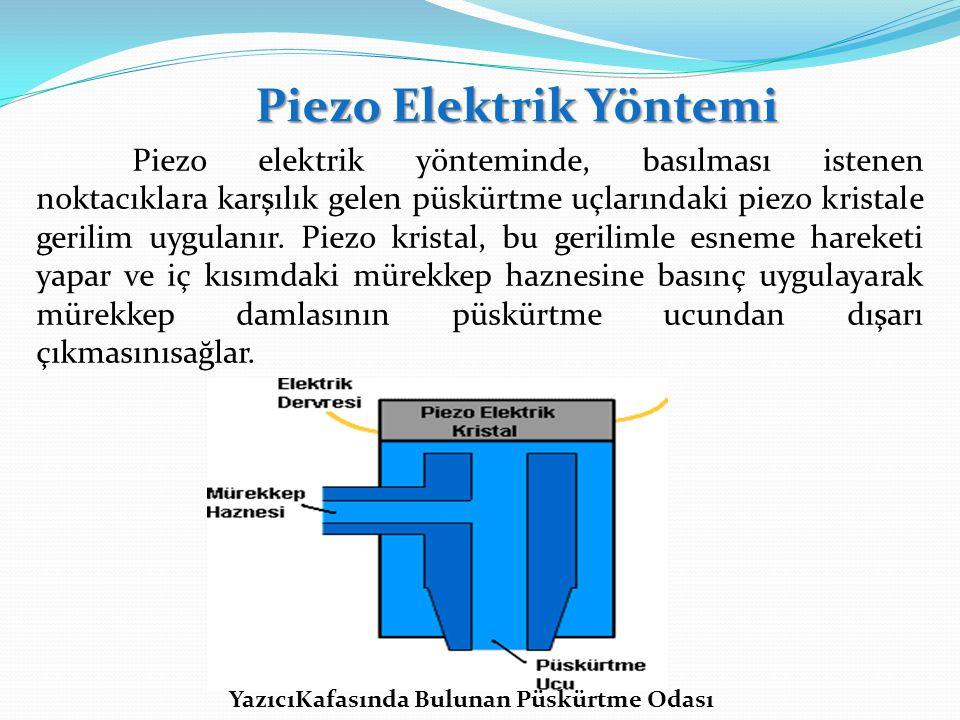 Piezo Elektrik Yöntemi Piezo elektrik yönteminde, basılması istenen noktacıklara karşılık gelen püskürtme uçlarındaki piezo kristale gerilim uygulanır