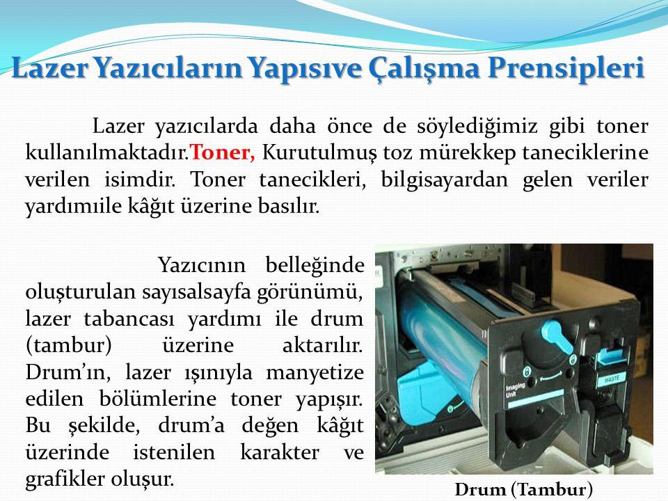 Lazer Yazıcıların Yapısıve Çalışma Prensipleri Lazer yazıcılarda daha önce de söylediğimiz gibi toner kullanılmaktadır.Toner, Kurutulmuş toz mürekkep