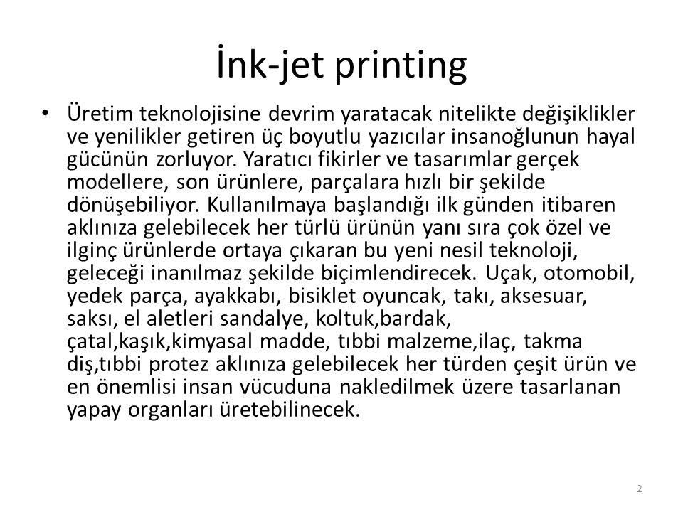 İnk-jet printing Üretim teknolojisine devrim yaratacak nitelikte değişiklikler ve yenilikler getiren üç boyutlu yazıcılar insanoğlunun hayal gücünün z