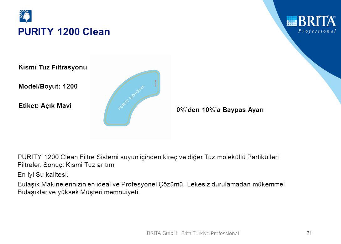 BRITA GmbH21 PURITY 1200 Clean Kısmi Tuz Filtrasyonu Model/Boyut: 1200 Etiket: Açık Mavi 0%'den 10%'a Baypas Ayarı PURITY 1200 Clean Filtre Sistemi su