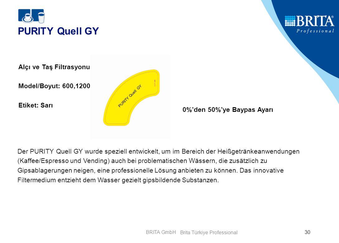 BRITA GmbH30 PURITY Quell GY 0%'den 50%'ye Baypas Ayarı Alçı ve Taş Filtrasyonu Model/Boyut: 600,1200 Etiket: Sarı Der PURITY Quell GY wurde speziell