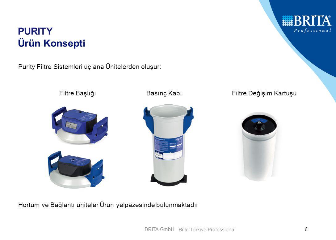 BRITA GmbH6 PURITY Ürün Konsepti Purity Filtre Sistemleri üç ana Ünitelerden oluşur: Hortum ve Bağlantı üniteler Ürün yelpazesinde bulunmaktadır Filtr