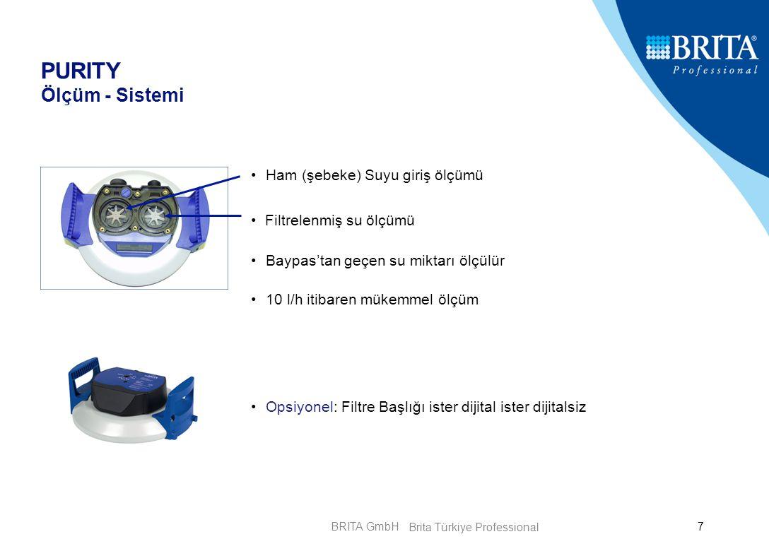BRITA GmbH7 PURITY Ölçüm - Sistemi Ham (şebeke) Suyu giriş ölçümü Filtrelenmiş su ölçümü Baypas'tan geçen su miktarı ölçülür 10 l/h itibaren mükemmel