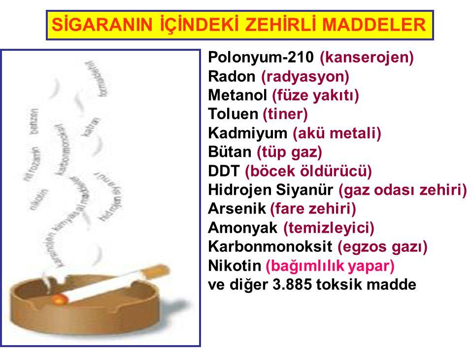 Polonyum-210 (kanserojen) Radon (radyasyon) Metanol (füze yakıtı) Toluen (tiner) Kadmiyum (akü metali) Bütan (tüp gaz) DDT (böcek öldürücü) Hidrojen S