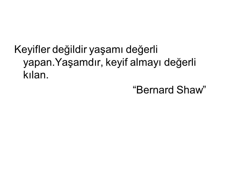 """Keyifler değildir yaşamı değerli yapan.Yaşamdır, keyif almayı değerli kılan. """"Bernard Shaw"""""""