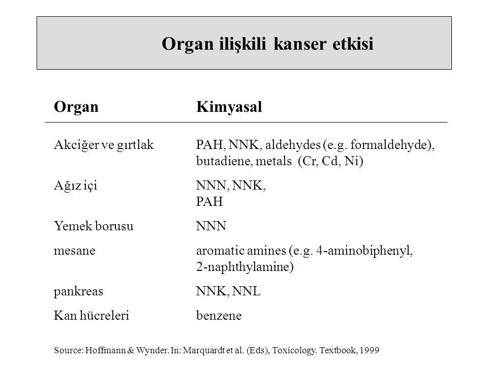 Organ ilişkili kanser etkisi Akciğer ve gırtlakPAH, NNK, aldehydes (e.g. formaldehyde), butadiene, metals (Cr, Cd, Ni) Ağız içiNNN, NNK, PAH Yemek bor