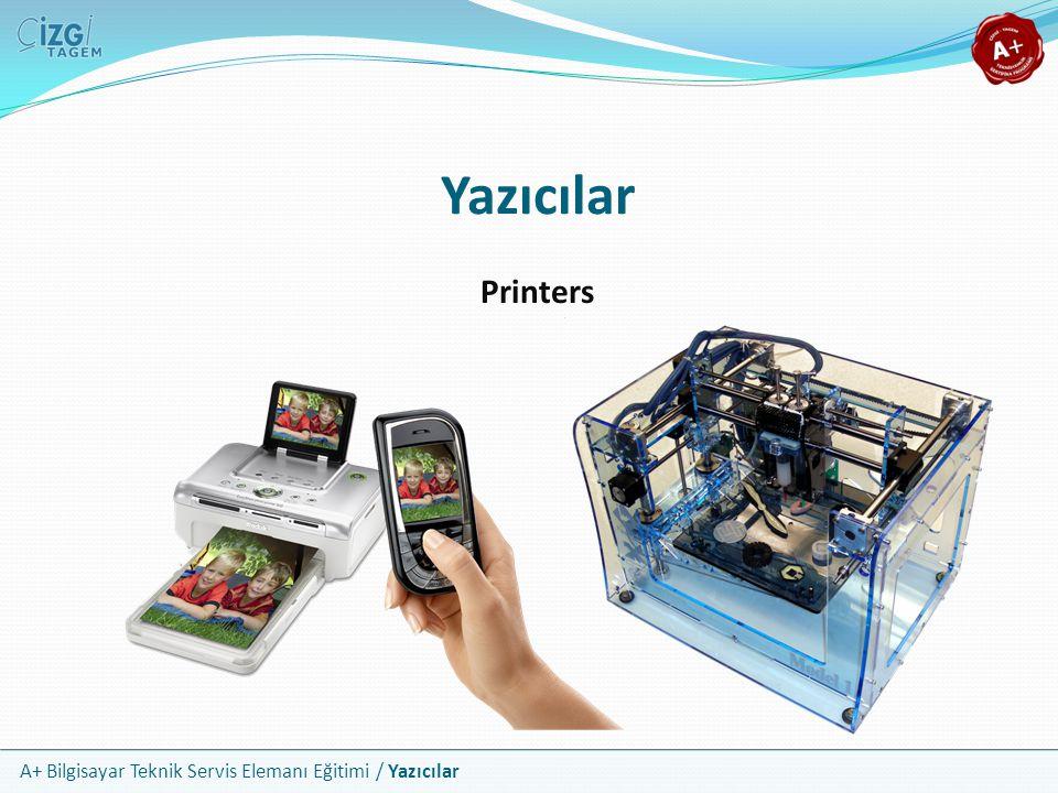 A+ Bilgisayar Teknik Servis Elemanı Eğitimi / Yazıcılar Baskı Performansı ve Renk Kalibrasyonu Ekranda gördükleriniz ile çıktı da görünenler aynı olmayabilir Monitörler RGB, yazıcılar ise CMYK standardını kullanır Renk farklılıklarını gidermek için elle veya ICC renk profil dosyaları yardımıyla ayarlamalar yapılabilir Ayrıca baskısı alınan resimler bilgisayarda büyük görünebilse bile, kağıt üzerinde çok küçük veya bozuk kalabilir Bunun sebebi çözünürlük farkıdır ve baskısı yapılan görüntü çözünürlüğünün yeterli olması gerekir