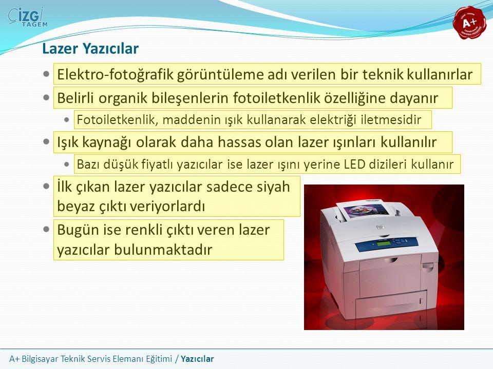 A+ Bilgisayar Teknik Servis Elemanı Eğitimi / Yazıcılar Lazer Yazıcılar Elektro-fotoğrafik görüntüleme adı verilen bir teknik kullanırlar Belirli orga