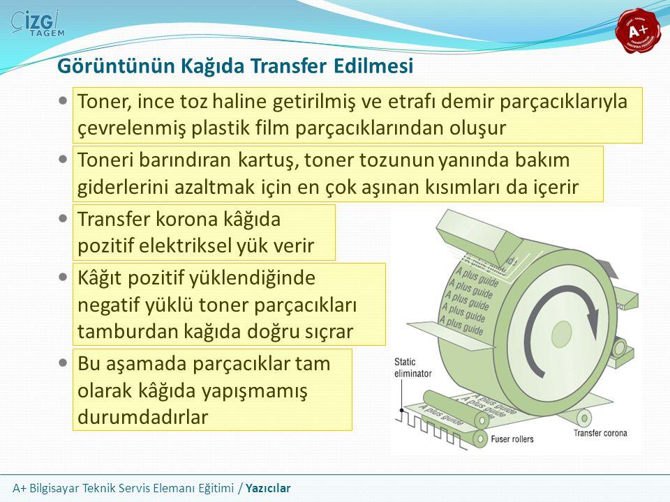 A+ Bilgisayar Teknik Servis Elemanı Eğitimi / Yazıcılar Görüntünün Kağıda Transfer Edilmesi Toner, ince toz haline getirilmiş ve etrafı demir parçacık