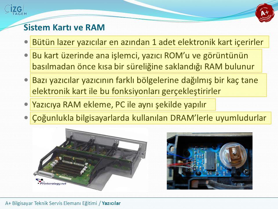 A+ Bilgisayar Teknik Servis Elemanı Eğitimi / Yazıcılar Sistem Kartı ve RAM Bütün lazer yazıcılar en azından 1 adet elektronik kart içerirler Bu kart