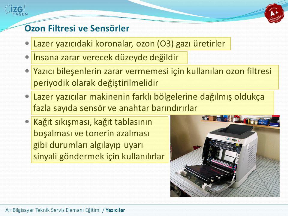A+ Bilgisayar Teknik Servis Elemanı Eğitimi / Yazıcılar Ozon Filtresi ve Sensörler Lazer yazıcıdaki koronalar, ozon (O3) gazı üretirler İnsana zarar v