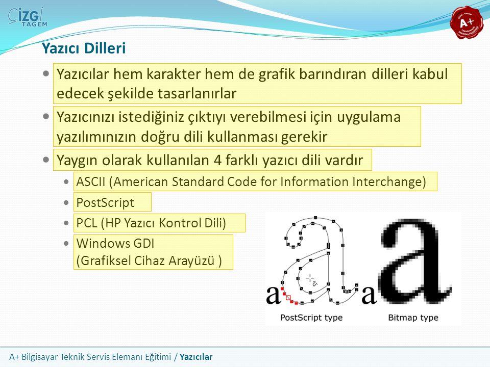 A+ Bilgisayar Teknik Servis Elemanı Eğitimi / Yazıcılar Yazıcı Dilleri Yazıcılar hem karakter hem de grafik barındıran dilleri kabul edecek şekilde ta