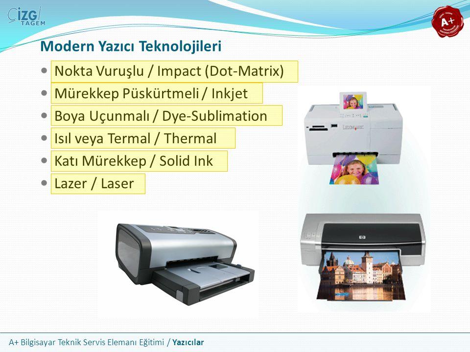 A+ Bilgisayar Teknik Servis Elemanı Eğitimi / Yazıcılar Lazer Yazıcıların Çalışması Bileşenler Toner Kartuşu ve Toner Işığa Duyarlı Tambur Silme Lambası Ana Korona Lazer Transfer Korona Kaynaştırıcı (Fuser) Dönen Dişliler Güç Kaynakları ve Sistem Kartı Ozon Filtresi Sensör ve Anahtarlar Yazdırma Adımları Temizleme (Clean) Yükleme, Şarj Etme (Charge) Yazma (Write) Geliştirme (Develop) Transfer Kaynaştırma (Fuse)