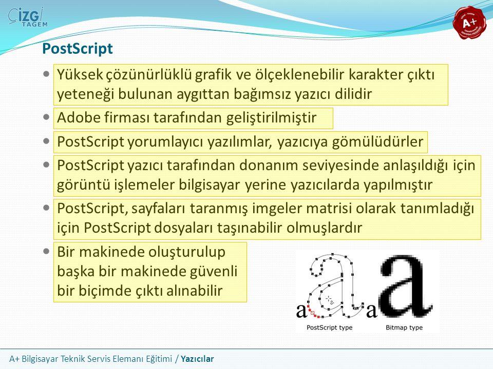 A+ Bilgisayar Teknik Servis Elemanı Eğitimi / Yazıcılar PostScript Yüksek çözünürlüklü grafik ve ölçeklenebilir karakter çıktı yeteneği bulunan aygıtt