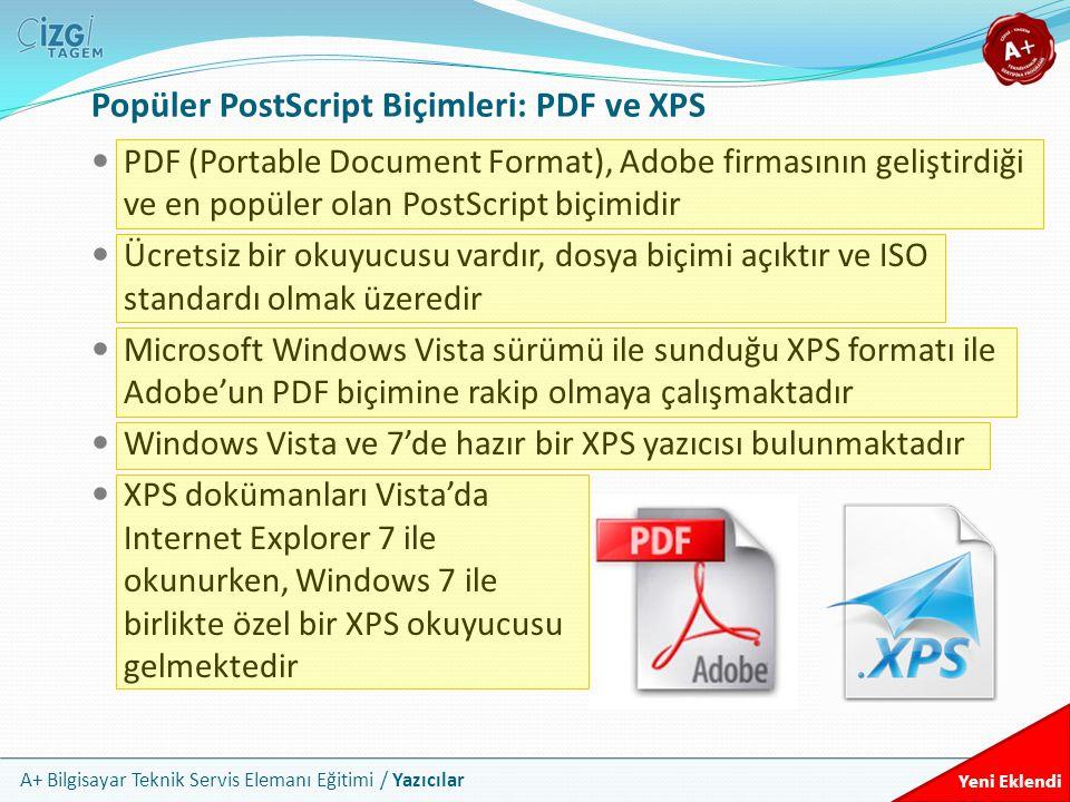 A+ Bilgisayar Teknik Servis Elemanı Eğitimi / Yazıcılar Popüler PostScript Biçimleri: PDF ve XPS PDF (Portable Document Format), Adobe firmasının geli