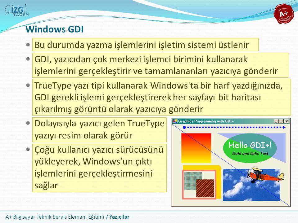A+ Bilgisayar Teknik Servis Elemanı Eğitimi / Yazıcılar Windows GDI Bu durumda yazma işlemlerini işletim sistemi üstlenir GDI, yazıcıdan çok merkezi i