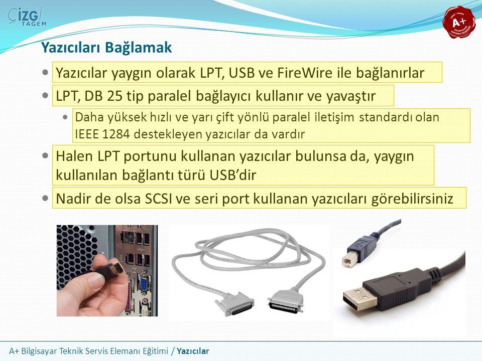 A+ Bilgisayar Teknik Servis Elemanı Eğitimi / Yazıcılar Yazıcılar yaygın olarak LPT, USB ve FireWire ile bağlanırlar LPT, DB 25 tip paralel bağlayıcı