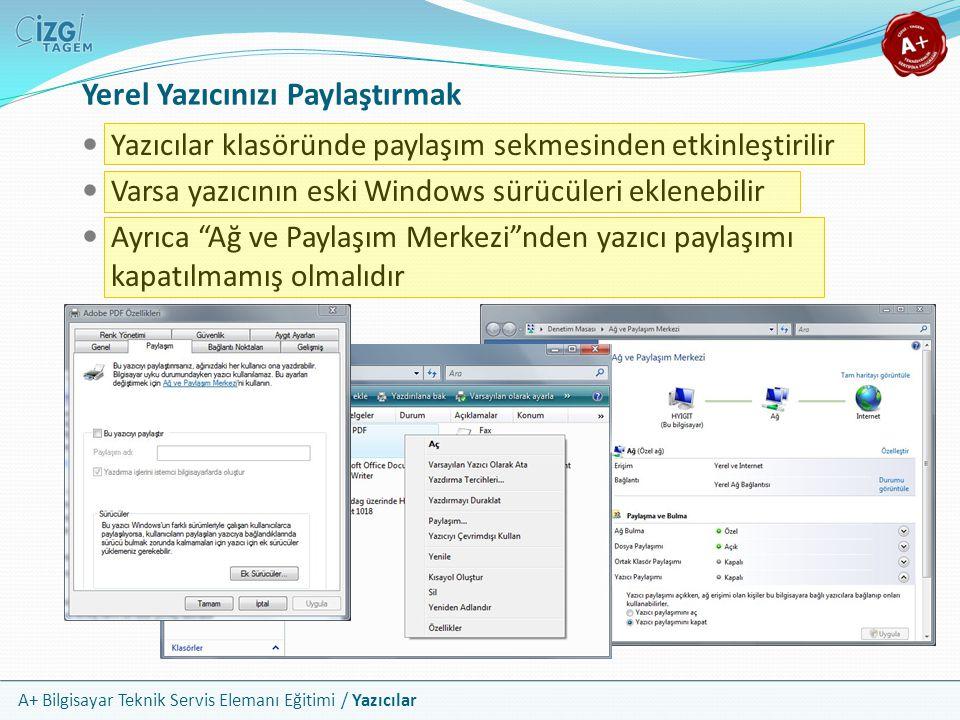 A+ Bilgisayar Teknik Servis Elemanı Eğitimi / Yazıcılar Yerel Yazıcınızı Paylaştırmak Yazıcılar klasöründe paylaşım sekmesinden etkinleştirilir Varsa