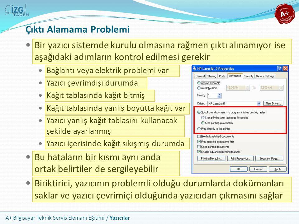 A+ Bilgisayar Teknik Servis Elemanı Eğitimi / Yazıcılar Çıktı Alamama Problemi Bir yazıcı sistemde kurulu olmasına rağmen çıktı alınamıyor ise aşağıda