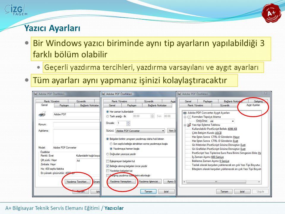 A+ Bilgisayar Teknik Servis Elemanı Eğitimi / Yazıcılar Yazıcı Ayarları Bir Windows yazıcı biriminde aynı tip ayarların yapılabildiği 3 farklı bölüm o