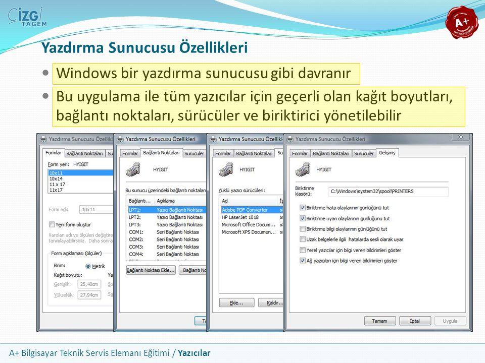 A+ Bilgisayar Teknik Servis Elemanı Eğitimi / Yazıcılar Yazdırma Sunucusu Özellikleri Windows bir yazdırma sunucusu gibi davranır Bu uygulama ile tüm