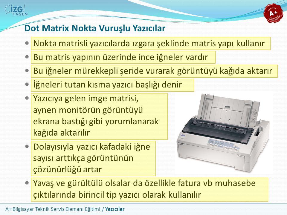 A+ Bilgisayar Teknik Servis Elemanı Eğitimi / Yazıcılar Plotter'ın Türkçe karşılığı olarak çizici kelimesi kullanılabilir Kalemler yardımı ile düz resimler oluşturur Genellikle mühendislik alanında ve mimari projelerde büyük boyutlu çıktılar için kullanılır Plotter