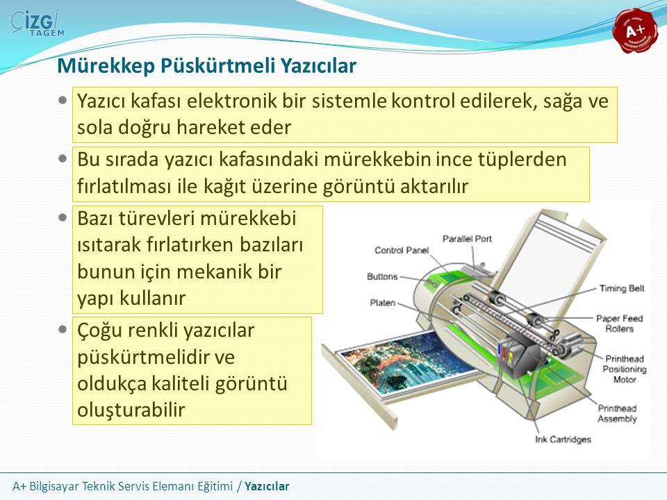A+ Bilgisayar Teknik Servis Elemanı Eğitimi / Yazıcılar Püskürtmeli Yazıcı Kartuşları Mürekkepler özel olarak tasarlanmış kartuşlar içinde depolanır Çoğu alt segment yazıcıda 1 adet siyah ve 1 adet renkli olmak üzere iki mürekkep kartuşu bulunur Renkli kartuşta, mavi, kırmızı ve sarı mürekkepler için farklı bölümler vardır Daha üst düzey yazıcılarda renkler üç ayrı kartuşta depolanır Bu şekilde hem ekonomik fayda, hem de daha kaliteli çıktı elde edilir Günümüzde altı, sekiz ve daha fazla sayıda renkli kartuş barındıran yazıcılar vardır Yazıcıda bulunan kartuş sayısı çıktıdaki görüntü kalitesini arttırmasına karşılık, yazıcının da fiyatını yükseltir