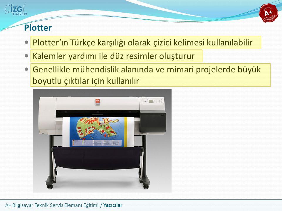 A+ Bilgisayar Teknik Servis Elemanı Eğitimi / Yazıcılar Plotter'ın Türkçe karşılığı olarak çizici kelimesi kullanılabilir Kalemler yardımı ile düz res