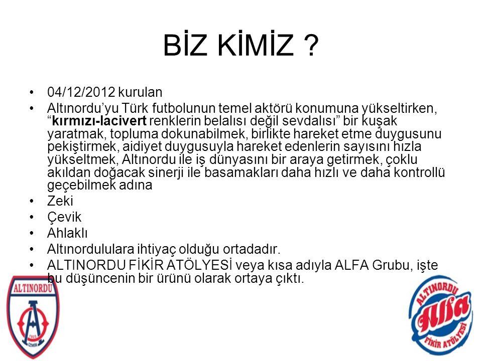 """BİZ KİMİZ ? 04/12/2012 kurulan Altınordu'yu Türk futbolunun temel aktörü konumuna yükseltirken, """"kırmızı-lacivert renklerin belalısı değil sevdalısı"""""""