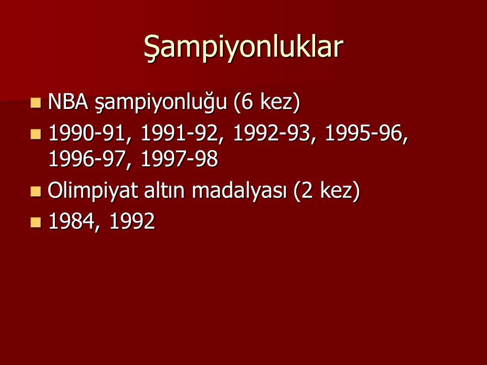 Şampiyonluklar NBA şampiyonluğu (6 kez) NBA şampiyonluğu (6 kez) 1990-91, 1991-92, 1992-93, 1995-96, 1996-97, 1997-98 1990-91, 1991-92, 1992-93, 1995-96, 1996-97, 1997-98 Olimpiyat altın madalyası (2 kez) Olimpiyat altın madalyası (2 kez) 1984, 1992 1984, 1992