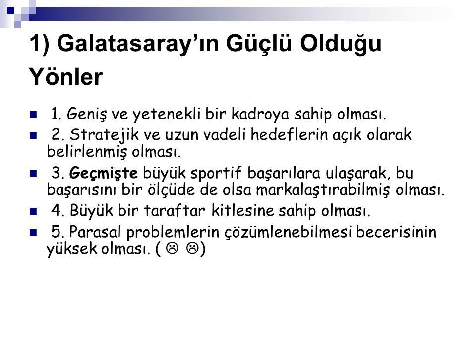 1) Galatasaray'ın Güçlü Olduğu Yönler 6.Köklü bir kültür ve geçmişe sahip olması.