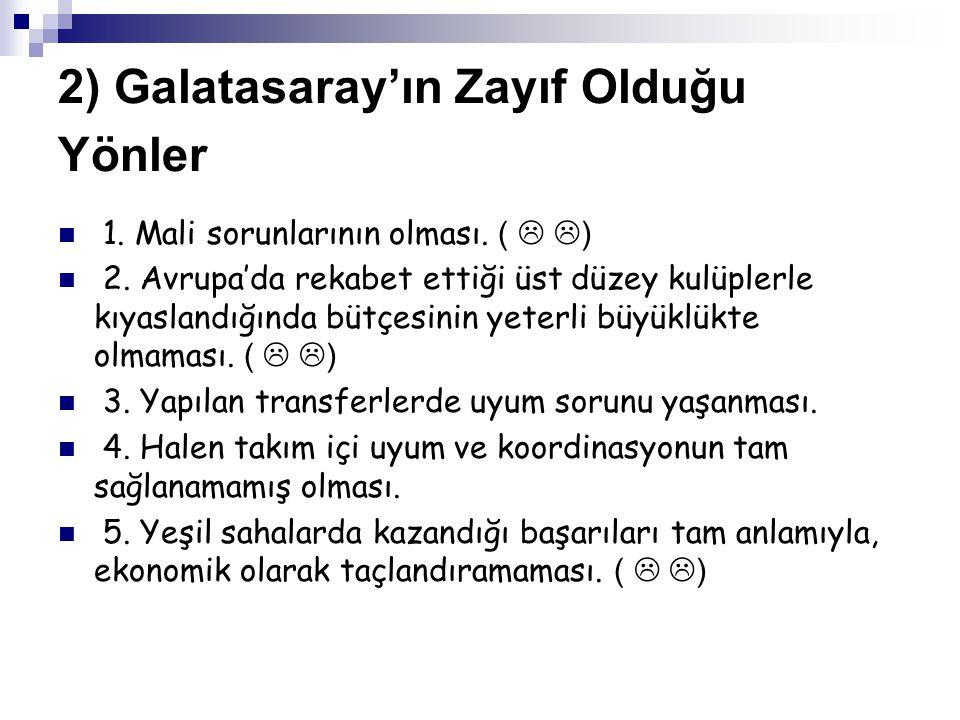 2) Galatasaray'ın Zayıf Olduğu Yönler 1.Mali sorunlarının olması.