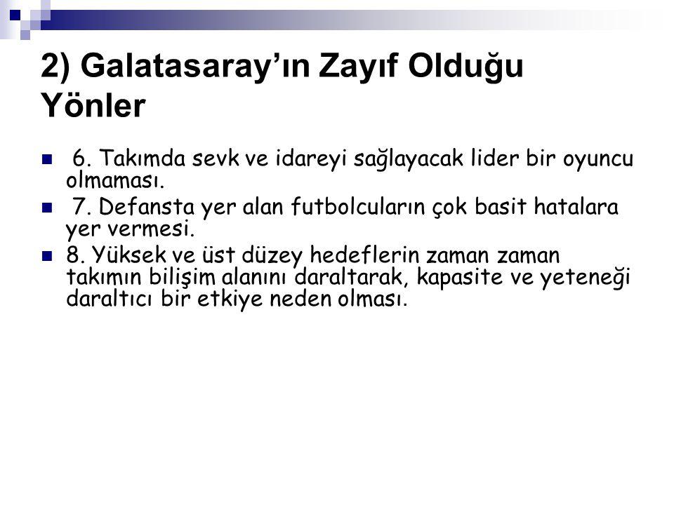 2) Galatasaray'ın Zayıf Olduğu Yönler 6.