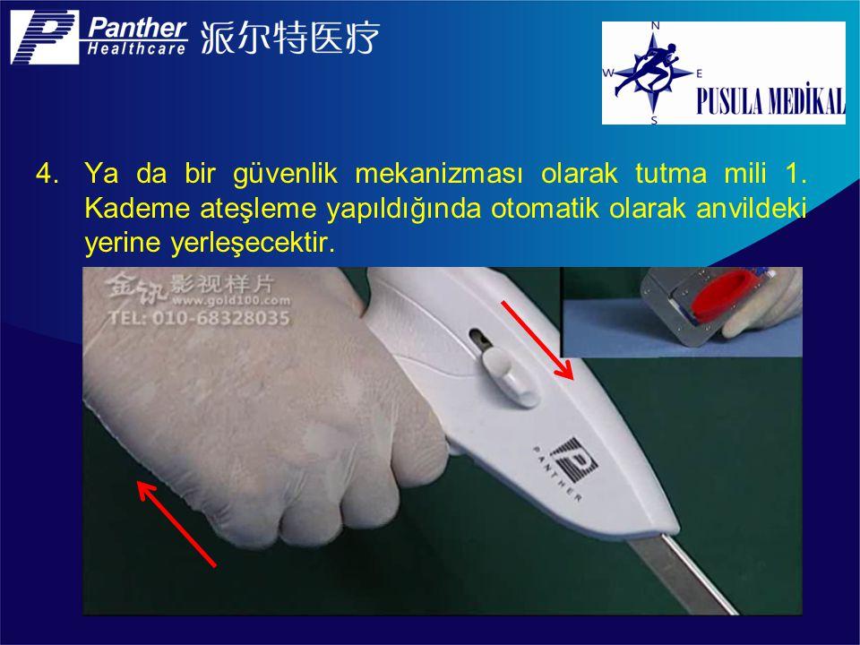 4.Ya da bir güvenlik mekanizması olarak tutma mili 1. Kademe ateşleme yapıldığında otomatik olarak anvildeki yerine yerleşecektir.